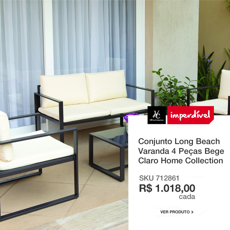 Conjunto Long Beach Varanda 4 Peças, Bege Claro Home Collection